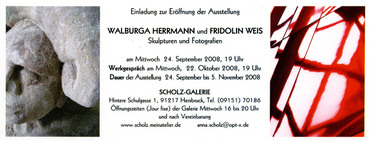 Einladung zur Ausstellungseröffnung von Fridolin Weis