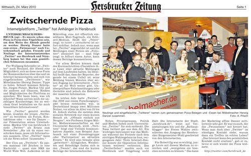 """HZ Artikel vom 24.03.: """"Zwitschernde Pizza"""""""