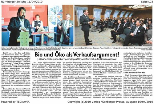 """Pegnitz-Zeitung zur Podiumsdiskussion """"Nachhaltigkeit als Markenwert"""""""