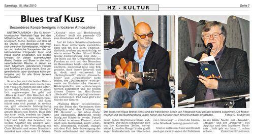 Christine Stubenvoll in der Hersbrucker Zeitung über Blues und Kusz während der Wersktatt-Tage