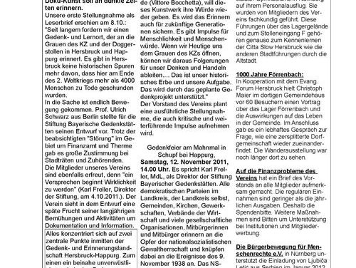 Newsletter Nr. 4 der Dokumentationsstätte KZ Hersbruck