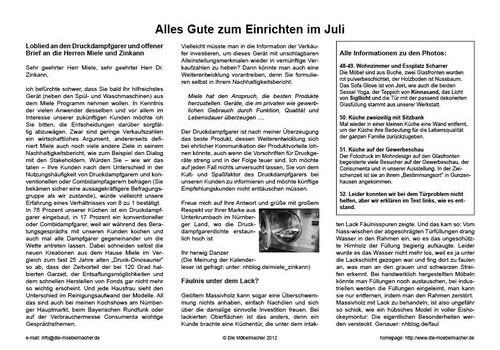 Miele-Chef Dr. Reinhard Zinkann antwortet auf offenen Brief über den Druckdampfgarer