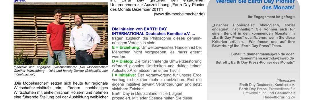 Möbelmacher sind Pionier des Monats bei Earth-Day
