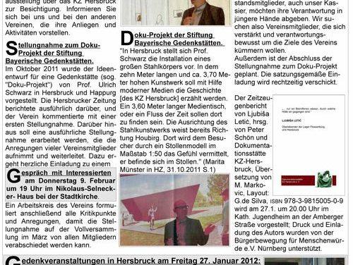 Rundbrief Nr. 1 2012 der Dokumentationsstätte KZ Hersbruck