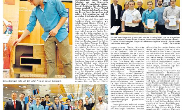 Möbelmacherin Sophia Bernutz mit EinsKommaNull-Zeugnis – Gute Form und Freisprechungsfeier 2014 in der Sparkasse Hersbruck