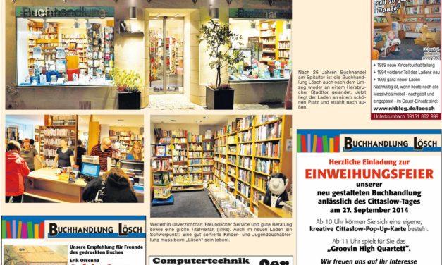 Cittaslow-Tag Hersbruck auch in der Buchhandlung Lösch und bei den Möbelmachern