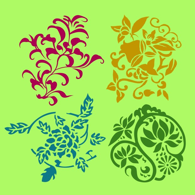 Different styles of Flower and Plant Symbol Sets. Original Patte