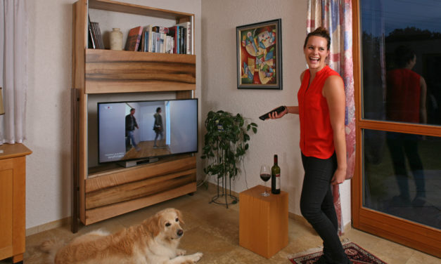 Nussbaumschrank als TV-Möbel und die Tricks der Hundedame Mira