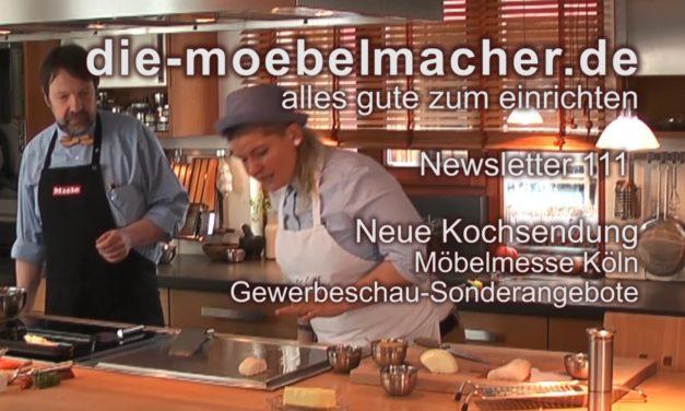 Newsletter 111: Erste Kochsendung mit Diana Burkel, günstige Messe-Essplätze und Möbelmesse Köln