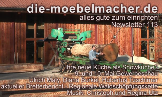 Newsletter 113: Gewerbeschau mit Koch-Einrichtung in live und die mobile Säge