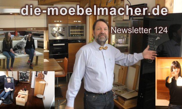 Newsletter 124: V2A-Bank mit Leder, Roll-Ei, LED-Licht, Box- und Wood Spring, Möbelmesse,  schwarzer Kühlschrank
