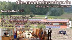 Newsletter 138: 80% Sonnenstrom, Tag der Küche am 30.9., neue Eichenküchen und Schwarzstorch-Yoga