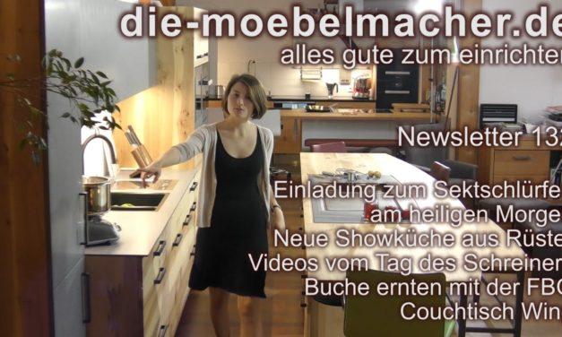 NL 132: Sekt am heiligen Morgen, Rüster-Showküche, Baumernte, Kocheinrichtung Nr. 8, Videos der Lesung und der Kochaktionen