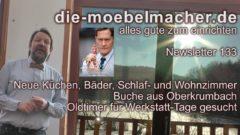 NL 133: Limettenküche, Holzstapeleinladung, neue Modelgeneration, Einradschlafzimmer, Schockfroster, Grimmepreis und Oldtimer, Weinkühlschranksonderangebot