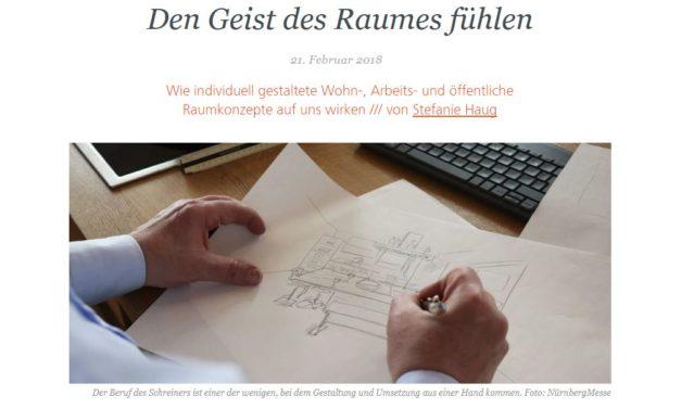 """Unser Konzept von Regionalität, Qualität und Individualität im Magazin der NürnbergMesse: """"Den Geist des Raumes fühlen"""""""