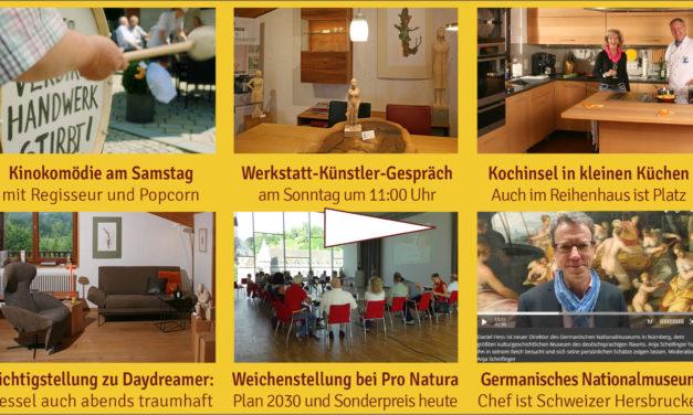 Newsletter 158: Werkstatt-Tage am Wochenede, Kinokomödie, Kunst, Kochinsel, Klimaanlage, Pro Natura, neuer Relaxsessel