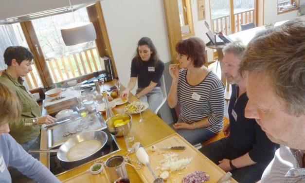 Kochworkshop mit Messerkunde, Zwiebelschneidkurs, Saiblingen, Wild- und Weideschwein und dem Sinn des Schockfrosters