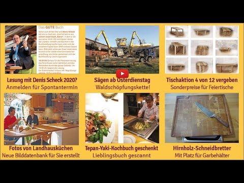 Newsletter 165: Sägen ab Dienstag, Landhausküchen, Kochbuch verschenken, Tisch-Aktion, Hirnholz-Schneidbretter, Heimbüro