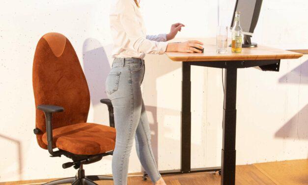 Höhenverstellbarer Schreibtisch auf Rollen und der neue Bürostuhl Tango mit Öko-Velourleder