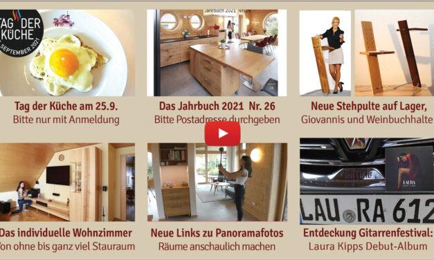 Newsletter 179:  Tag der Küche am 25.9., neues Jahrbuch, neue Stehleuchte, Wohnzimmer, Innovationspreis Ergonomie, neues altes Kochbuch, Stummer Diener Giovanni